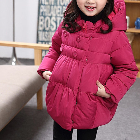 Solid Color Hooded Zipper Warm Outerwear, 5224978
