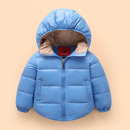 Solid Color Hooded Zipper Warm Down Jacket, 5259764