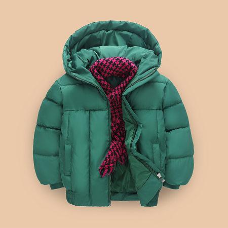 Solid Color Zipper Hooded Warm Jacket, 5287987