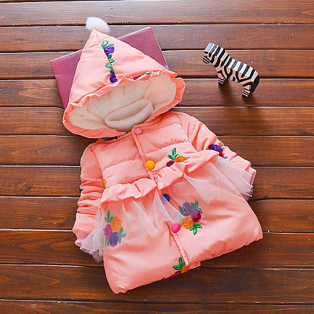 Embroidered Flowers Thickened Hooded Coat
