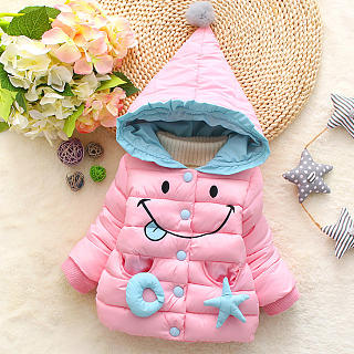 Thickened Cartoon Face Pattern Pompon Hooded Down Coat