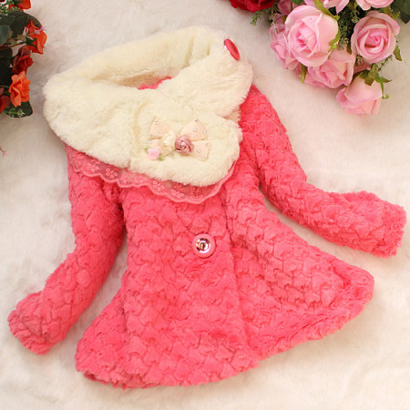 Thickened Plush Bowknot Flower Decorated Outerwear