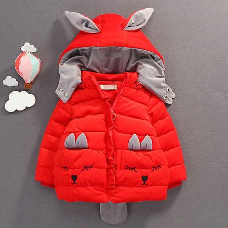 Thickened Cartoon Face Pattern Bunny Ear Zipper Hooded Outerwear