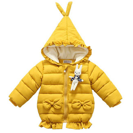 Thickened Bowknot Decorated Hooded Outerwear With Bunny