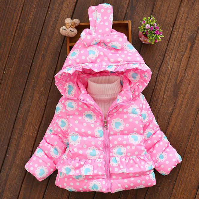 Thickened Heart Prints Polka Dots Bunny Ear Outerwear