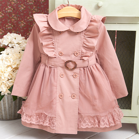 Thickened Lace Ruffle Button Tulle Trench Coat