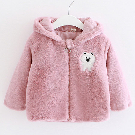 Thickened Plush Bear Pattern Zipper Hooded Outerwear