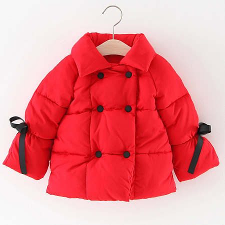 Thickened Bowknot Decorated Solid Color Down Coat