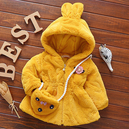 Thickened Plush Flower Decorated Bunny Ear Outerwear With Cross-Body Bag
