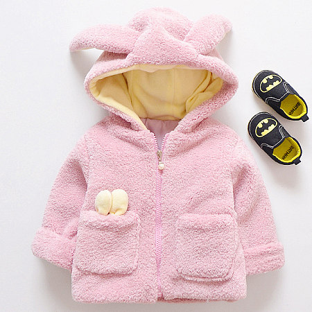 Thickened Plush Bunny Ear Zipper Hooded Outerwear