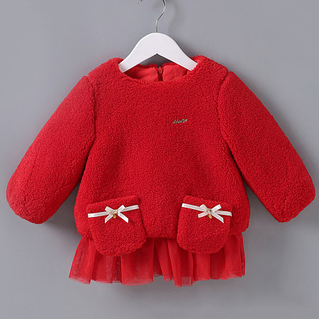 Thickened Plush Bowknot Decorated Tulle Fake-Two-Piece Outerwear