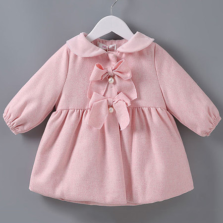 Thickened Solid Pink Bowknot Pearl Decorated Outerwear