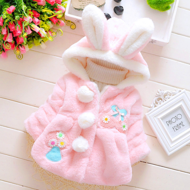 Thickened Plush Bunny Ear Pompon Decorated Hooded Outerwear