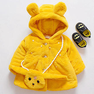 Thickened Plush Bunny Ear Button Hooded Outerwear With Cross-Body Bag