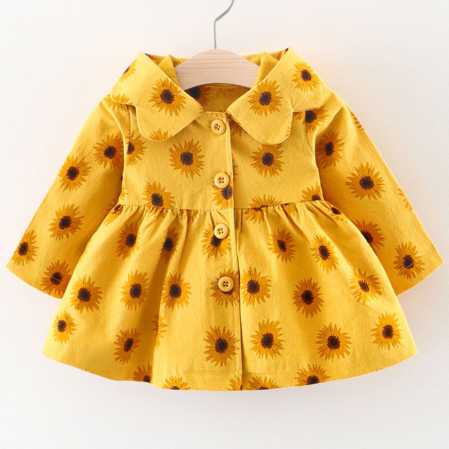 Sunflower Prints Button Hooded Coat