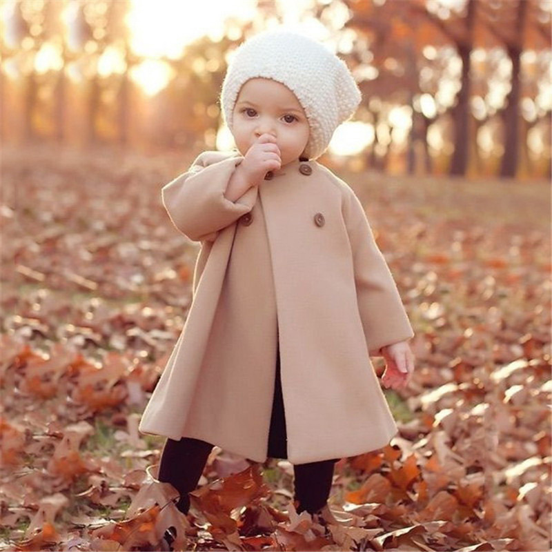 Thickened Button Solid Color Round Neck Woolen Coat