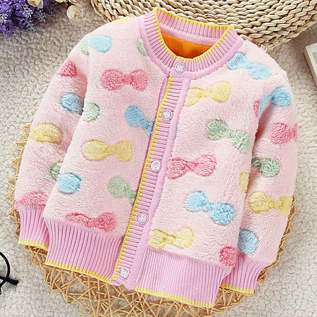 Thickened Plush Bowknot Prints Button Outerwear