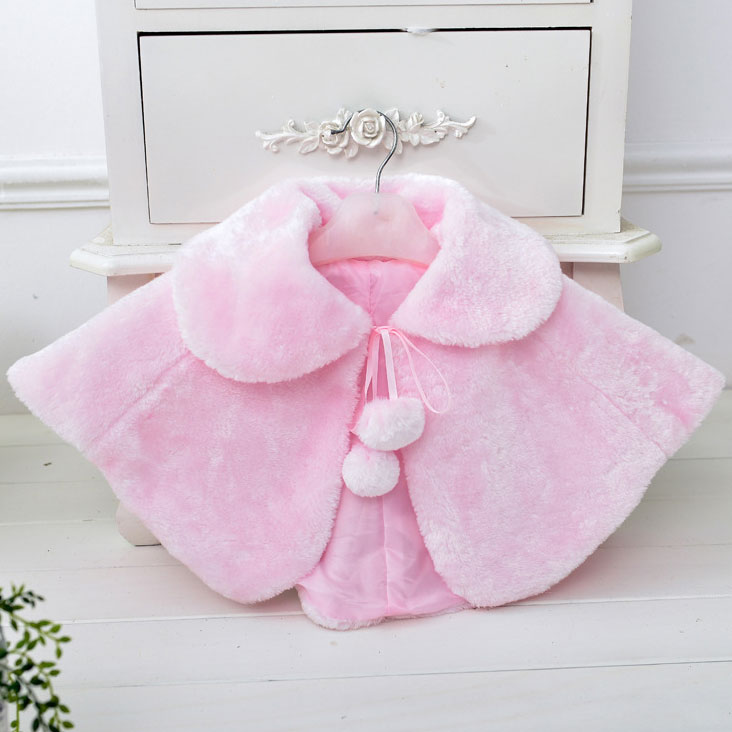 Thickened Plush Pompon Decorated Turn Down-Collar Cloak