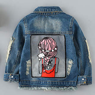 Cartoon Character Pattern Turn-Down Collar Ripped Jacket