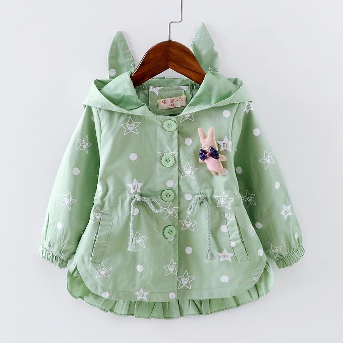 Bunny Decorated Star Prints Hooded Coat