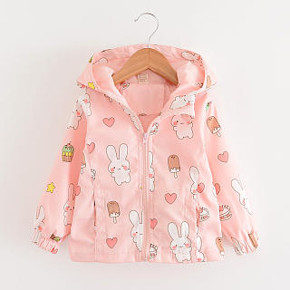 Bunny Prints Zipper Hooded Coat