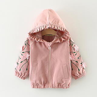 Flower Decorated Ruffle Trim Hooded Coat