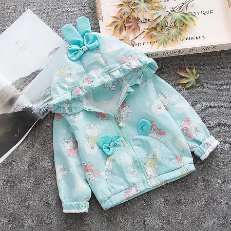 Bowknot Decorated Cartoon Pig Pattern Hooded Coat