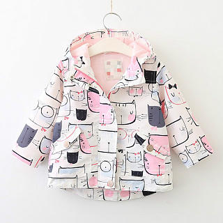 Cartoon Cat Pattern Zipper Asymmetrical Jackets