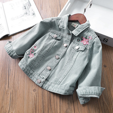 Denim Botanical Embroidered Jackets