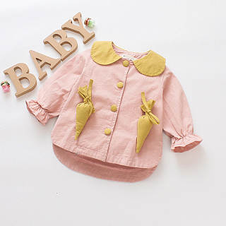 Radish Decorated Doll Collar Asymmetrical Jackets