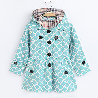 Plaid Button Hooded Coat
