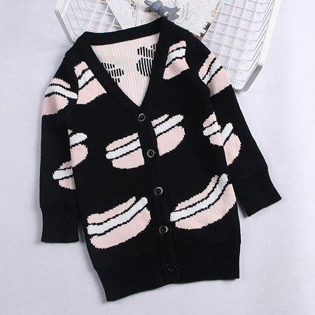 Hamburger Pattern Knitted Cardigan