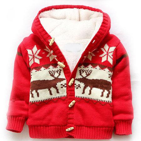Reindeer Pattern Hooded Outerwear, red, JM17083104