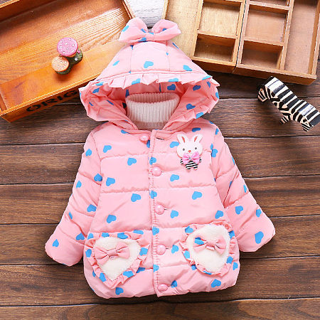 Loving Heart Pattern Bunny Applique Hooded Thickened Outerwear