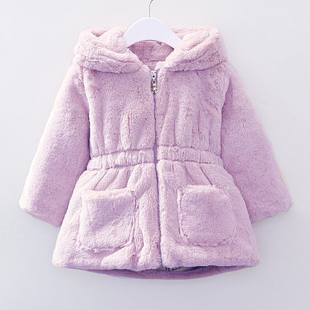 Bunny Ears Plush Hooded Zip Up Outerwear
