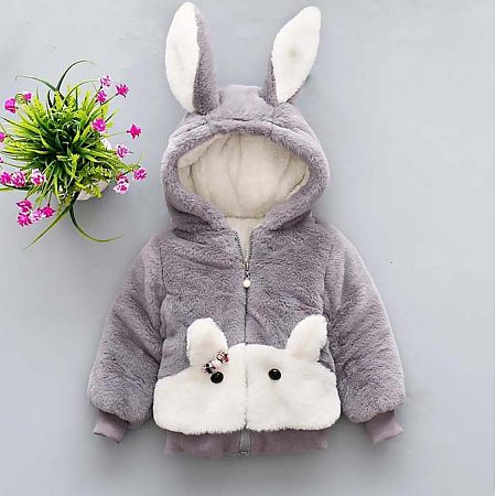 Bunny Ears Hooded Plush Zip Up Outerwear