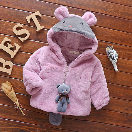 Plush Hooded Zip Up Outerwear