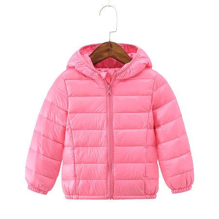 Solid Color Zipper Front  Hooded Coat