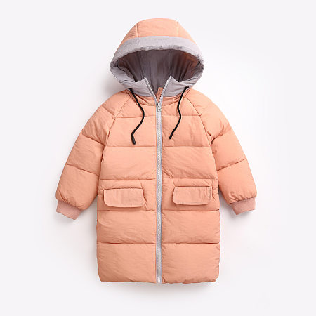 Pocket Zipper Front Hooded Drawstring  Coat