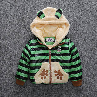 Color Block Cartoon Bear Coat