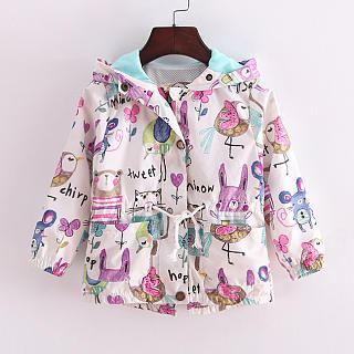 Cartoon Graffiti Print Hooded Drawstring Jacket