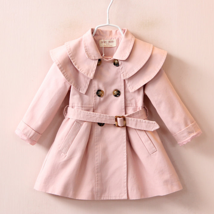 Button Solid Color Belt Trench Coat