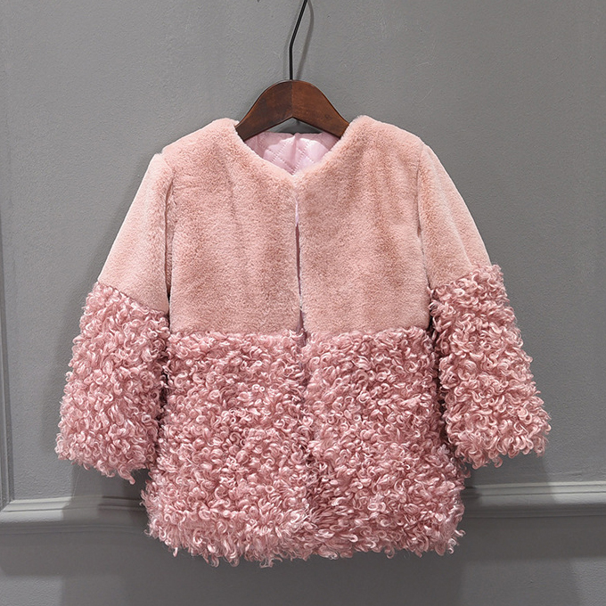 Patchwork Thickened Pink Coat
