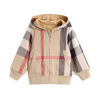 Color Block Plaid Hooded Thickened Outerwear
