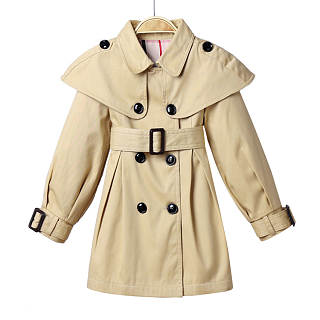 Solid Color Turn-Down Collar Trench Coat