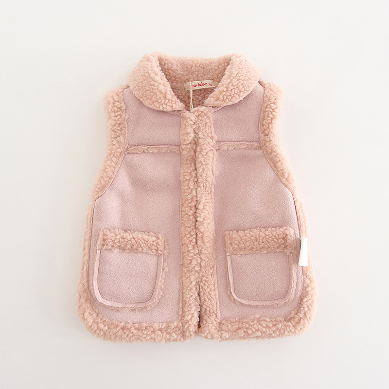 Pocket Solid Color Thickened Vest