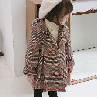 Plaid Hooded Button Outerwear