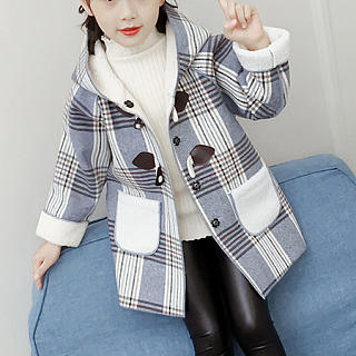 Plaid Thickened Hooded Coat