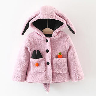 Cartoon Ear Solid Color Pocket Thickened Coat