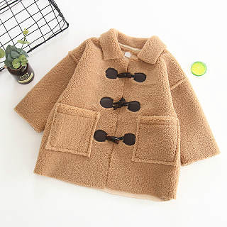 Turn-Down Collar Solid Color Thickened Coat